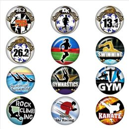 Track days online shopping - sports Track and Field swinning karate glass snap button jewelry DIY Round photo cabochons flat back DA1307 jewelry making DIY