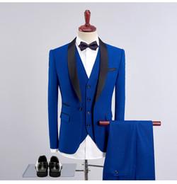 SuitS Smoking online shopping - Royal Blue tuxedos groom wedding men suits mens wedding suits tuxedo costumes de smoking pour hommes men Jacket Pants Tie Vest