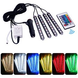 car drl led strip NZ - 4Pcs 12V Car RGB LED DRL Strip Light 5050SMD Car Auto Remote Control Decorative Flexible LED Strip Atmosphere Lamp Kit Fog Lamp