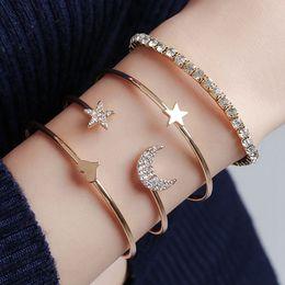 moon star bracelets 2019 - 4pcs set Women Bracelets Bohemian Pentagram Peach Hearts Stars Moon Open Bracelet For Women Fashion Apparel Jewelry Xmas