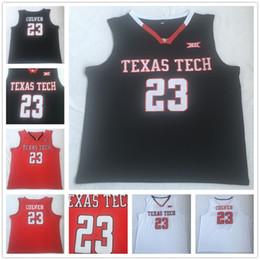 Discount college shirts Men's 2019 NCAA jersey 23 Jarrett Culver Texas Tech University Red White Black shirts College Basketball jerseys