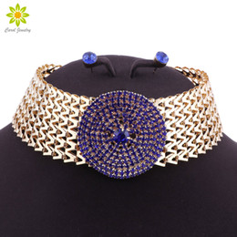 $enCountryForm.capitalKeyWord Australia - Blue Crystal Statement Necklace & Earrings Set Indian Wedding Party Costume Jewelry Sets for Brides Bridesmaid Women Gifts