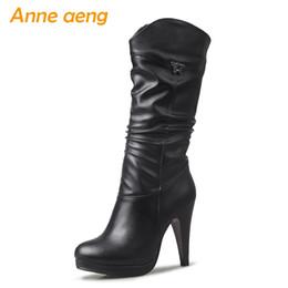 $enCountryForm.capitalKeyWord NZ - 2019 New Winter Women Mid-Calf Boots High Thin Heel Round Toe Slip-On Pleated Sexy Women Shoes Black Warm Short Boots Big Size