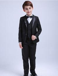 $enCountryForm.capitalKeyWord NZ - 2019 Fashion Summer Beach 4Pcs Toddler & Boys Formal Children Tuxedo Wedding Party Suit Black Boys Suits (Jacket+Pants+Vest+Bow Tie)