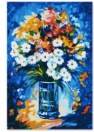 Diy Oil Paint Number Kits NZ - Frameless Diy White Daisy Oil Painting Paint by Numbers Kit on Canvas for Beginners Modern Art Painting for Home Decorations-16X20inch