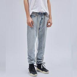 Latest Jeans Australia - 19ss high quality Latest INS Hip Hop Inside Out Slim Jeans Detachable Belted Denim Biker Pants Vintage Light Blue Jogger pants