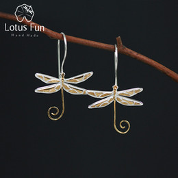 sterling silver dragonfly earrings 2019 - Lotus Fun Real 925 Sterling Silver Natural Style Handmade Fine Jewelry Cute Dragonfly Drop Earrings for Women Brincos ch