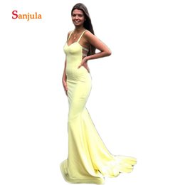 black backless jersey NZ - Spaghetti Straps Sheath Prom Dresses Yellow Jersey Hollow Waist Backless Girls Prom Graduation Party Gowns vestido de gala D1062