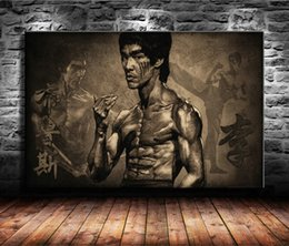Masters Figure Australia - 1 Pieces Canvas Prints Wall Art Oil Painting Home Decor Bruce Lee ,Master Legend (Unframed Framed) 24x36.