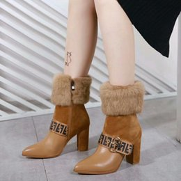 Women leather boot rabbit online shopping - Imported sheepskin fur alpaca fabric on the body The mouth design is imported pure natural leather rabbit hair