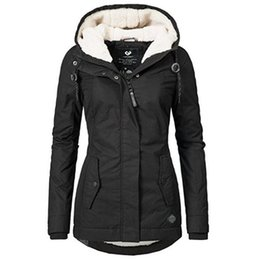 Discount ladies simple jacket - Women Jackets Casual Winter Warm Simple Black Gothic Slim Hooded Zipper Pocket Solid Coats OL Ladies Female Fashion Over
