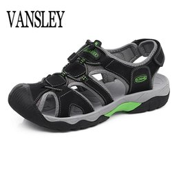 Beach Slippers Man Canada - Men Real Leather Sandals Outdoor 2019 Summer Beach Men Shoes Slippers Breathable roman Casual Shoes Footwear Walking Sandals