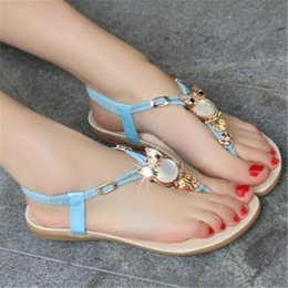 Discount owl sandals - WIGQCY 2019 new summer bohemian sandals and slippers flat with non-slip wear-resistant casual owl beaded toe female slip