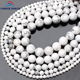 Wholesale CAMDOE DANLEN Natural Gem Stone White Howlite Turquoises Beads MM Bracelet Fit Diy Charm Beads For Jewelry Making