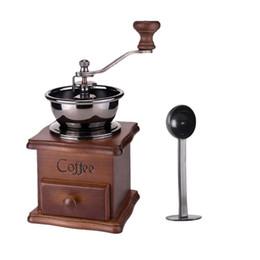 Toptan satış Değirmen Mini Antik Kaşıklı Ahşap Manuel Coffee Bean El Öğütücü W / Kaşık Mutfak Baharat Vintage Retro Burr Mill