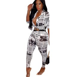$enCountryForm.capitalKeyWord Australia - 2019 Women New Summer Newspaper Letter Print Blouses Shirts & Pencil Pants Suit Two Piece Set Vintage Tracksuit Outfit
