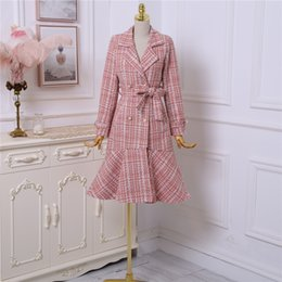 ladies woolen clothes 2019 - Women Long Coat Ladies Tweed Coat Dress Fashion Double-Breasted Pink Plaid Fishtail Sashes Woolen Outerwear Winter Cloth