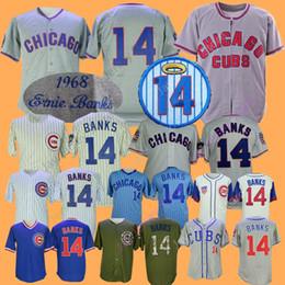 f455e319 Chicago Ernie Banks Jersey 1968 1969 Baseball Cubs Jerseys Cream Pinstripe  Blue White Grey Men size M-3XL
