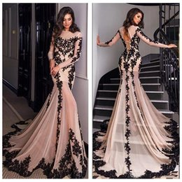 Strapless Short Blacks Dress Long Back NZ - Gorgeous Black And Light Champagne Mermaid Prom Dresses New 2019 Back Keyhole Sheer Long Sleeves Arabic Sexy See Through Evening Gowns Cheap