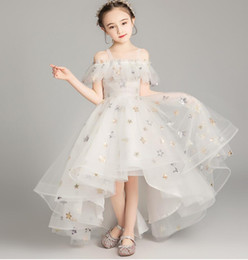 Discount evening gowns for little girls - Off Shoulder Princess Formal Dress Girl Evening Prom Party Pageant Ball Gown Little Kids Flower Girl Dresses For Wedding