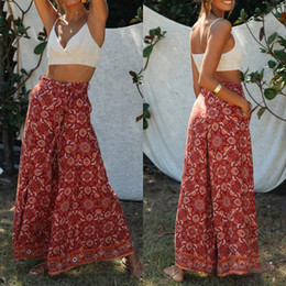 wide leg yoga pants UK - Women Boho Floral Baggy Trousers Pants Summer Casual Bowknot Floral Printed Loose Gym Yoga Palazzo Pants