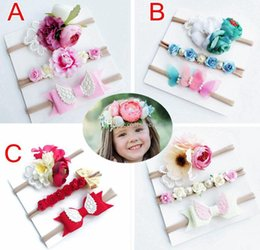 $enCountryForm.capitalKeyWord Australia - 3pcs set INS baby girl wing lace headband set kids flower Nylon hair Bows Children Hair Band Rabbit Ears Set with paper card