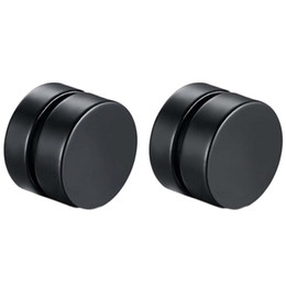 Fake Studs UK - 1 PIECE Mens Earring Set Stainless Steel Circle Magnetic Clip Stud Earrings Magnet Fake Plugs No Piercing Clip On Unisex Jewelry