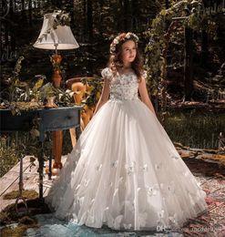 Tulle flower girl dress sheer back online shopping - Cute Pure White Flower Girls Dresses D Lace Applique Sheer Back Pageant Dress Custom Made Communion Gowns