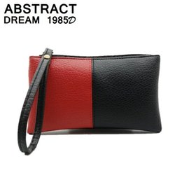 $enCountryForm.capitalKeyWord NZ - woman bag fashion designer PU leather Black & red Envelopes wallet luxury women's purse Ladies Quality Clutch bags Special price