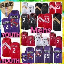 Großhandel NCAA Youth Kawhi 2 Leonard Kid's Pascal 43 Siakam Jersey Vince 15 Carter Kyle 7 Lowry Marcus 21 Camby Fred 23 VanVleet College Trikots