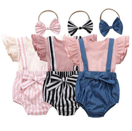 Baby-Kleidung-Kind-Fest-T-Shirt Straps Shorts Bowknotstirnband Kleidung Sets Sommer Fly Sleeve Top Striped Hair Anzug CYP619