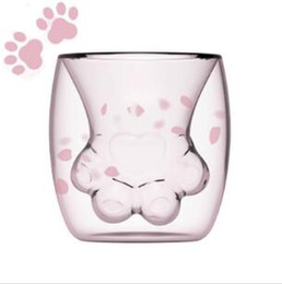 Double Layer Tea Glasses Australia - 2019 Cute Cat Claw Glass Mugs Cartoon Coffee Milk Mugs Cup Double Layer Glass Tea Cup For Starbucks Girl Gifts Drop Shipping