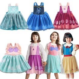 Wholesale Kids Girl Cartoon Apron Dress Princess Fancy Oil Proof Bow Strap Lace Dresses Open Back Girls Costume Anti pollution Costume TUTU Apron