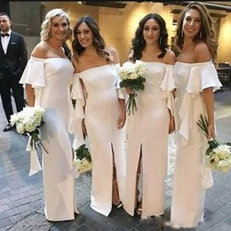 Off White Fall Dresses Australia - White Long Country Bridesmaid Dresses 2019 Off Shoulder Satin Side Slit Short Sleeve Floor Length Formal Wedding Guest Maid Of Honor Dress