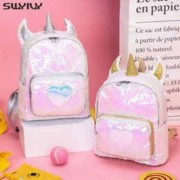 Gold Backpack Style Australia - SWYIVY Backpack With Sequins 2019 New Fashion Unicorn Backpacks Korean-style Cute Students Bag Gold Silver Travel Bags Zipper