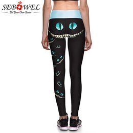 b7a49ca9e12ff SEBOWEL Women Elastic Yoga Leggings Sports Pants Cheshire Cat Push Up Workout  Fitness Gym Tights Sportswear Compression Trousers #628530