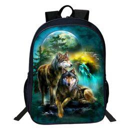 $enCountryForm.capitalKeyWord UK - New Wolf Bags High Capacity Backpacks For Teenage Boy Girls 16 Inch Bags Dog Dragon Horse Shark Eagle Cat Unicorn School