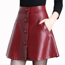 waiter button Canada - fashion new sheep leather leather skirt 2019 sutumn waiter high waist short skirt A word skirts high quality genuine leather skirt large siz