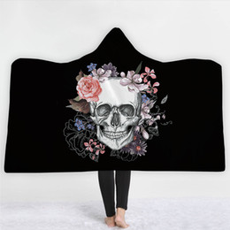 $enCountryForm.capitalKeyWord NZ - New Arrivals Sugar Skull Fleece Blanket For Adult Kids Colorful Skull Pattern Wearable Blanket On Sofa Bed Hooded Throw