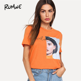 0ab14dc9942a Romwe Girl Patch Letter Print Tee Casual Graphic Tees Aesthetic Women  Summer Korean Round Neck Short Sleeve T Shirt Q190524