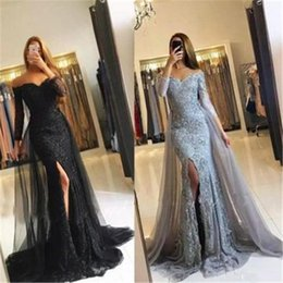 black off shoulder lace NZ - Silver Black Lace Mermaid Prom Dresses Appliques Off the shoulder Beaded Sequins Long Prom Gowns Evening Dresses robes de soirée 2K19