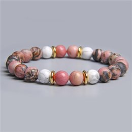 Raw beads online shopping - Women Natural Black Pink White raw stone beads beaded bracelet for female gifts jewelry natural rhodonite Rhodochrosite bracelet