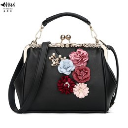 bc059527ec New Retro Vintage Flower Kiss Lock PU Leather Purse Handbag Totes Bag for  Women Shoulder Crossbody Bag Women s Handbags