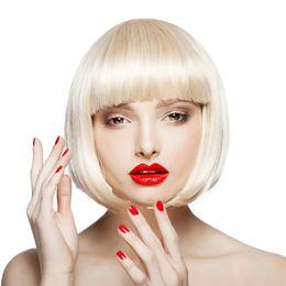 $enCountryForm.capitalKeyWord Australia - Hot selling fashion short hair wig 10 inch blonde straight bob wigs for Cosplay festival Halloween salon 100% synthetic hair