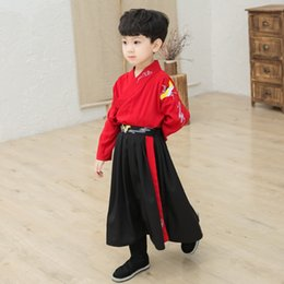 Wholesale ancient chinese clothes resale online - Boys Hanfu Chinese Style Tang Suit Traditional And Ancient Chinese Embroidered Costumes National Autumn Clothing DQL2389
