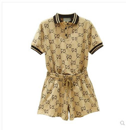 TwinseT sporT online shopping - 2019 new summer women s turn down collar logo letter print short sleeve shirt and elastic waist shorts casual twinset sports suit