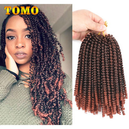 Discount ombre hair extensions for braiding - TOMO Hair Crochet Hair Braiding 8 inch Short curly twist 30 strands pack Synthetic Spring Twist Ombre braiding hair For