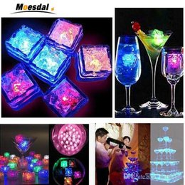 Glow Party Decorations Australia - led ice cubes 7 color changing night Light up LED Glow Ice Cubes lamp for wedding decoration party Beer glass Water induction