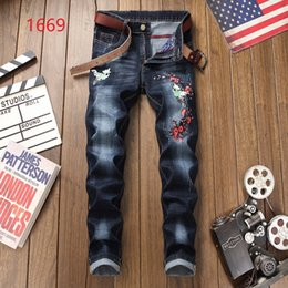 European Style Pants For Men Australia - Brand Designer-European American Style luxury Patchwork jeans Men's slim jeans denim trousers Straight blue famous brand jeans pants for men