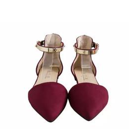 $enCountryForm.capitalKeyWord NZ - Designer Dress Shoes Sexy Women Buckle Strap Low Heels Pumps Spring Autumn Pointed Toe Flock D'Orsay Heels For Woman Ladies Single Blue